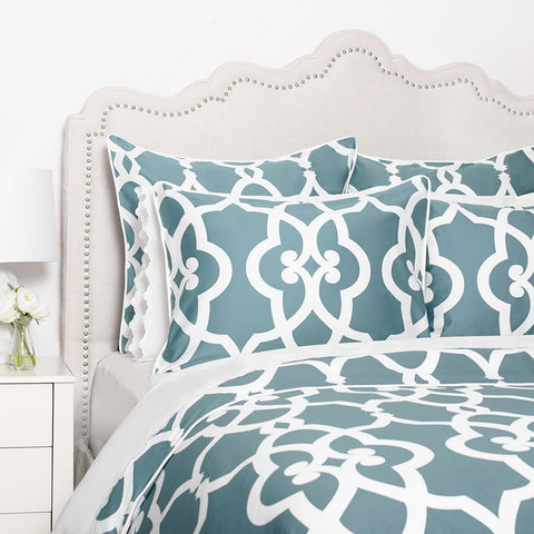 Bedroom inspiration and bedding decor | The Pacific Teal Duvet Cover | Crane and Canopy