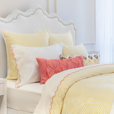 Bedroom inspiration and bedding decor | The Coral Scalloped Embroidered Sheet Sets | Crane and Canopy