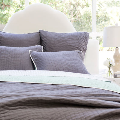 Bedroom inspiration and bedding decor | The Reversible Pick-Stitch Charcoal Grey Quilt & Sham Duvet Cover | Crane and Canopy