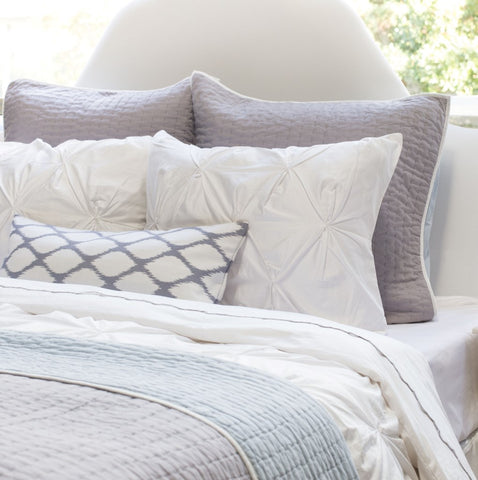 Bedroom inspiration and bedding decor | The Grey and White Raindrop Throw Pillows | Crane and Canopy