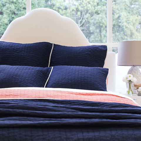 Bedroom inspiration and bedding decor | The Reversible Pick-Stitch Navy Blue Quilt & Sham Duvet Cover | Crane and Canopy