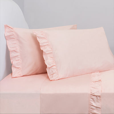 Bedroom inspiration and bedding decor | The Pink Ruffle Sheetss | Crane and Canopy