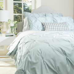 Great site for designer bedding | The Valencia Porcelain Green Pintuck
