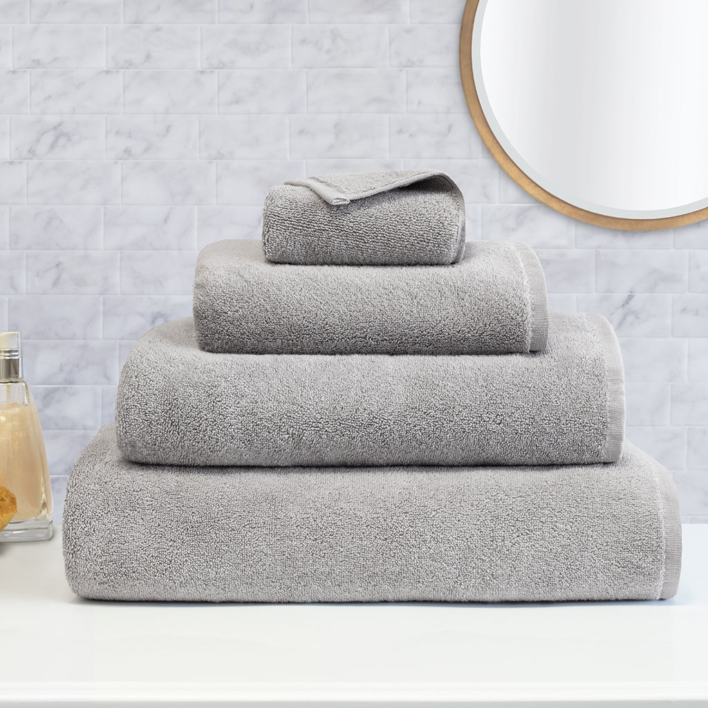 Bedroom inspiration and bedding decor | Plush Mist Grey Towel Spa Bundle (2 Wash + 2 Hand + 4 Bath Towels) Duvet Cover | Crane and Canopy
