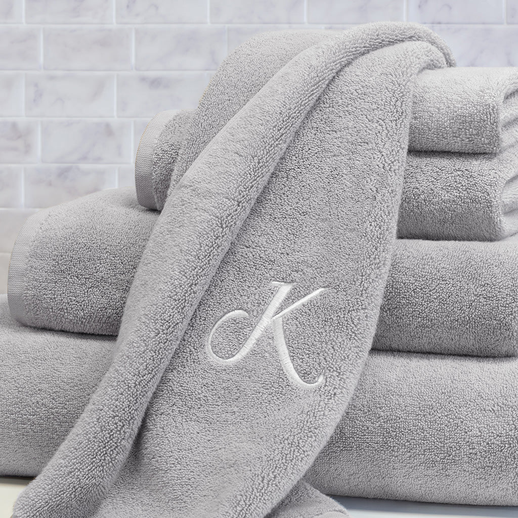 Bedroom inspiration and bedding decor | Plush Mist Grey Towel Essentials Bundle (2 Wash + 2 Hand + 2 Bath Towels) Duvet Cover | Crane and Canopy