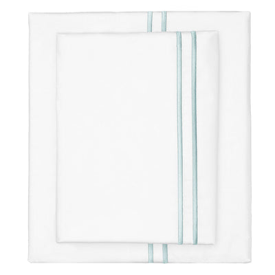 Porcelain Green Lines Embroidered Sheet Set 1 (Fitted, Flat, & Pillow Cases)