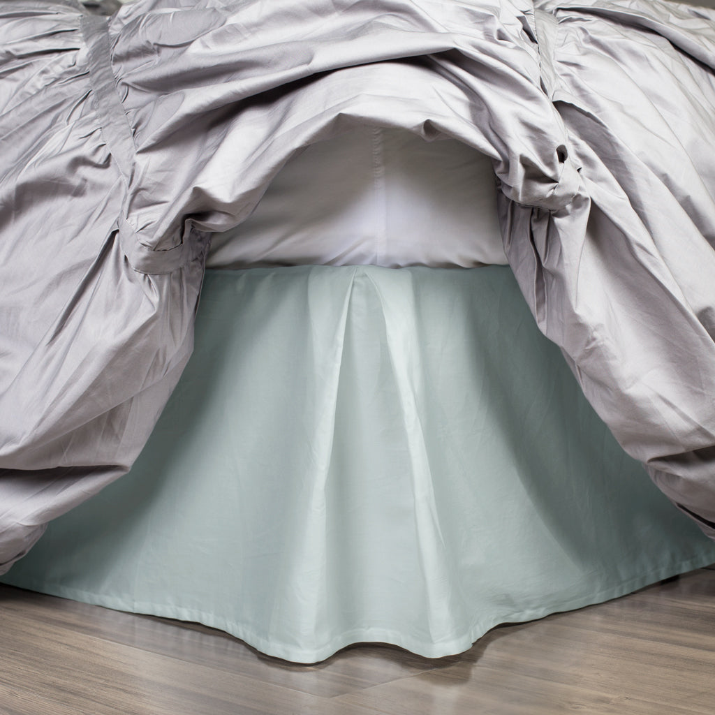 Bedroom inspiration and bedding decor | The Porcelain Green Pleated Bed Skirt Duvet Cover | Crane and Canopy