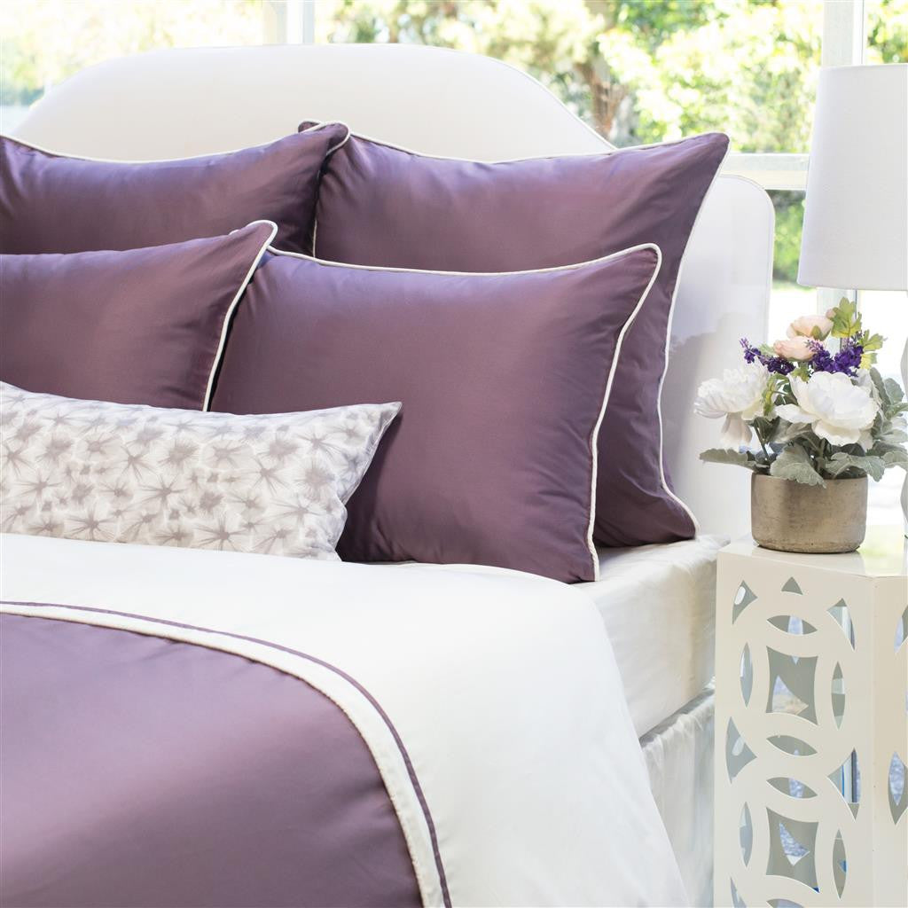 Bedroom inspiration and bedding decor | The Hayes Nova Purple | Crane and Canopy & Plum Sheets | Plum Purple 400 TC Sheets | Crane u0026 Canopy