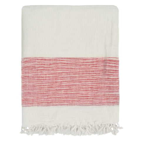 The Red Colorblock Linen Throw