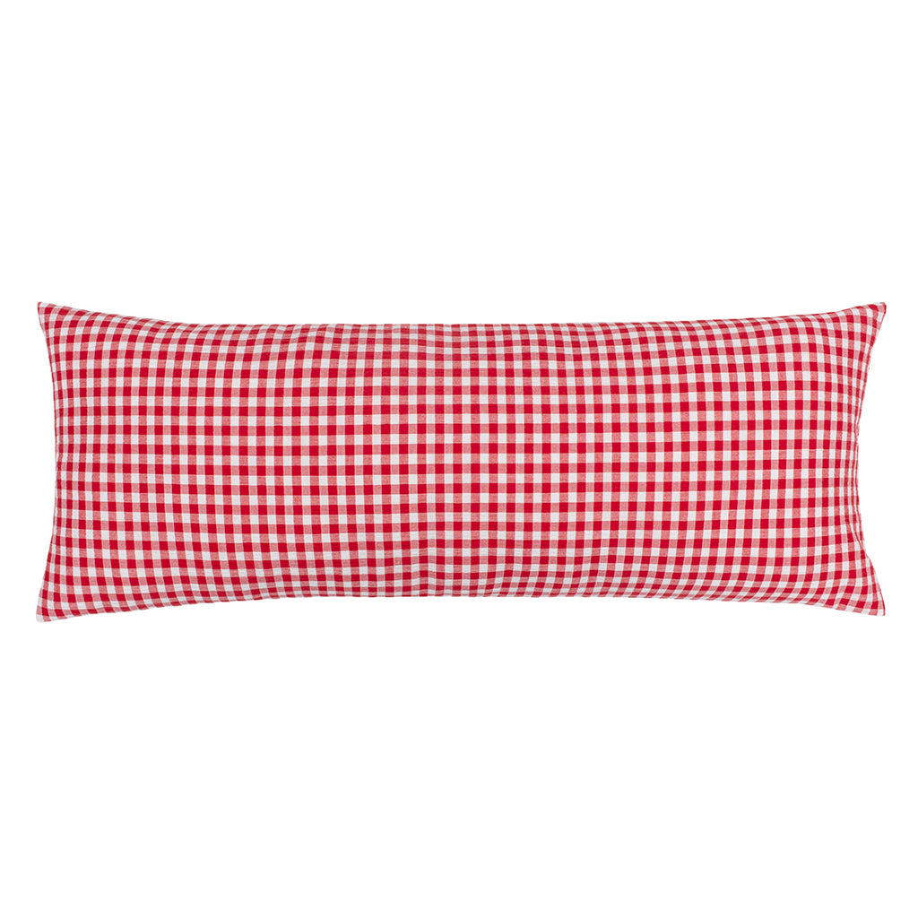 Bedroom inspiration and bedding decor | The Red Gingham Extra Long Lumbar Throw Pillow Duvet Cover | Crane and Canopy