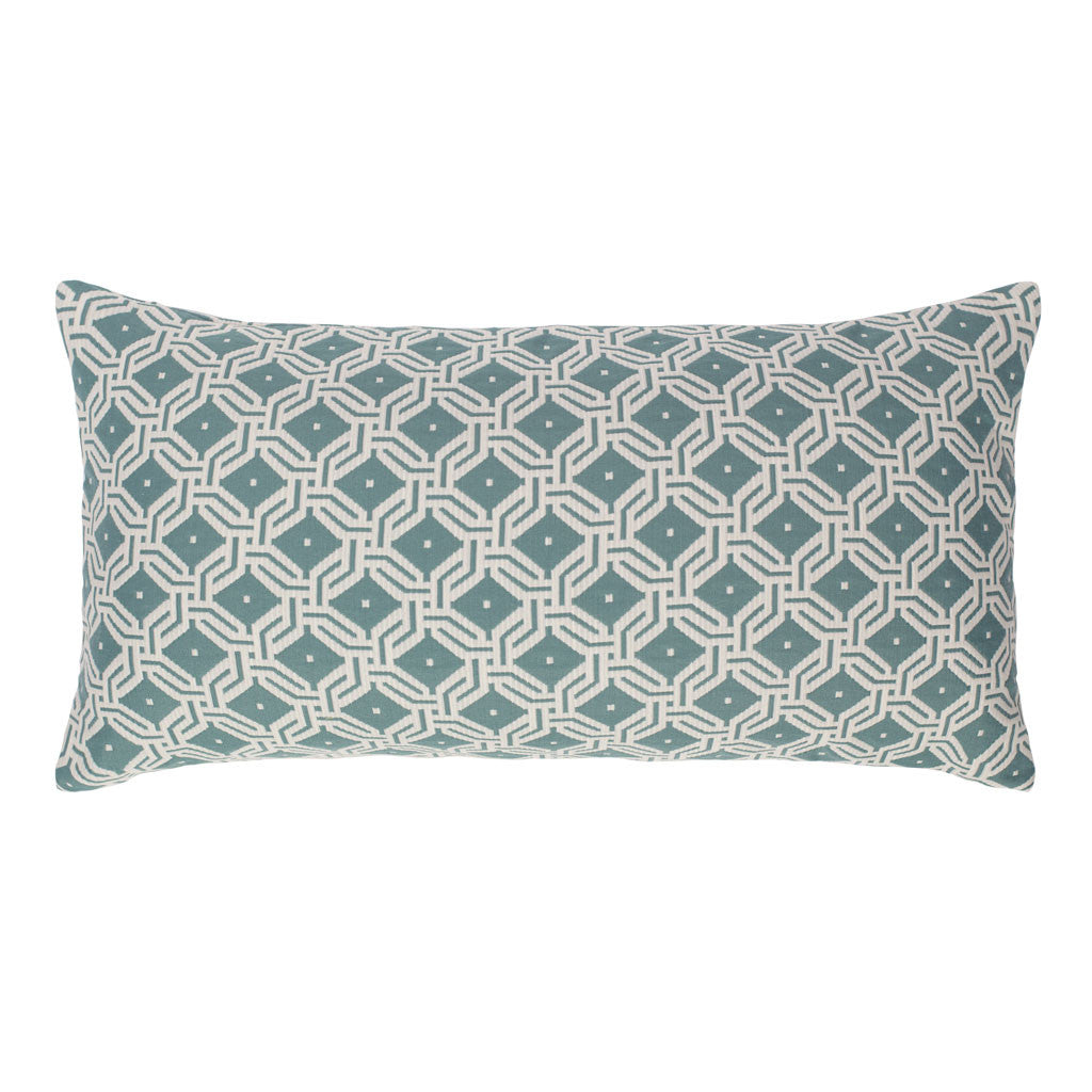 Bedroom inspiration and bedding decor | Sea Mist Green and White Diamond Circlet Throw Pillow Duvet Cover | Crane and Canopy