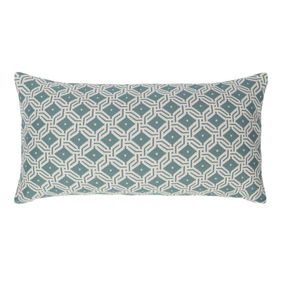 Sea Mist Green and White Diamond Circlet Throw Pillow