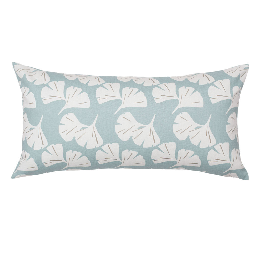 Bedroom inspiration and bedding decor | The Seafoam Ginkgo Leaves Throw Pillows | Crane and Canopy