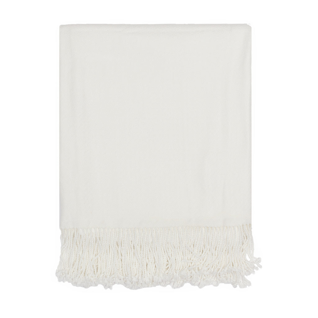 Bedroom inspiration and bedding decor | The Pearl White Solid Fringed Throw Blanket Duvet Cover | Crane and Canopy