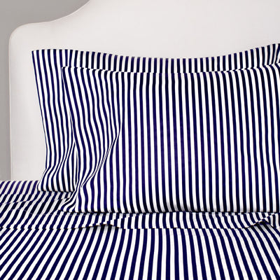 Navy Blue Striped Pillow Case