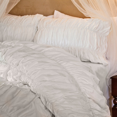 Ruched Duvet Cover Bedding White Crane Amp Canopy