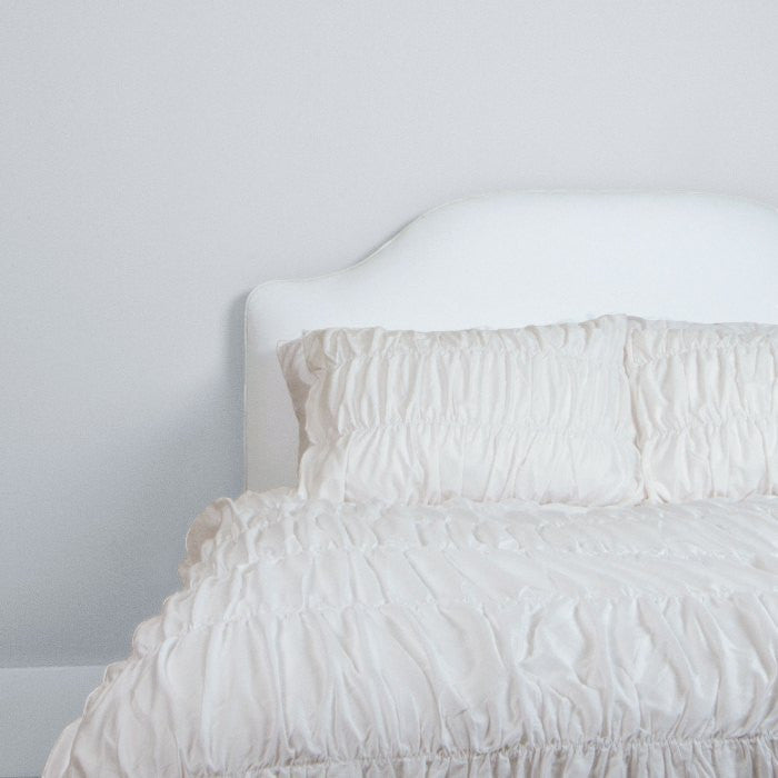 Bedroom inspiration and bedding decor | The Ruffled Sutter White Duvet Cover | Crane and Canopy