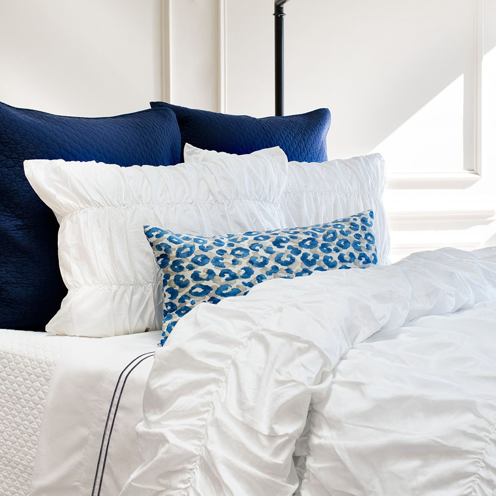 Bedroom inspiration and bedding decor | White Sutter Ruched Duvet Cover Duvet Cover | Crane and Canopy
