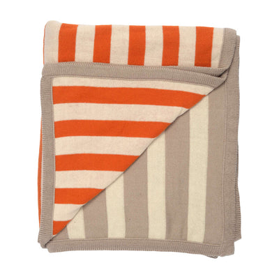 Tan-Orange Dual Stripe Throw