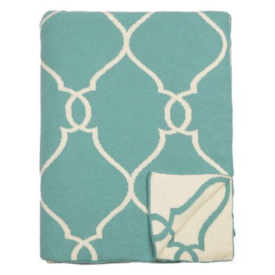 Teal Lattice Reversible Patterned Throw