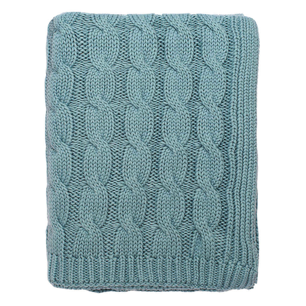 The Sea Glass Large Cable Knit Throw | Crane & Canopy