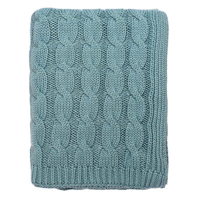 Sea Glass Large Cable Knit Throw