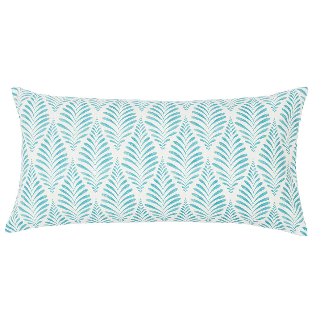 Bedroom inspiration and bedding decor | The Teal and White Palm Throw Pillows | Crane and Canopy