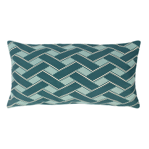 The Teal and Green Lattice Throw Pillow