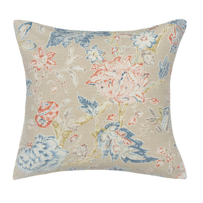 The Beige Summerdale Floral Square Throw Pillow
