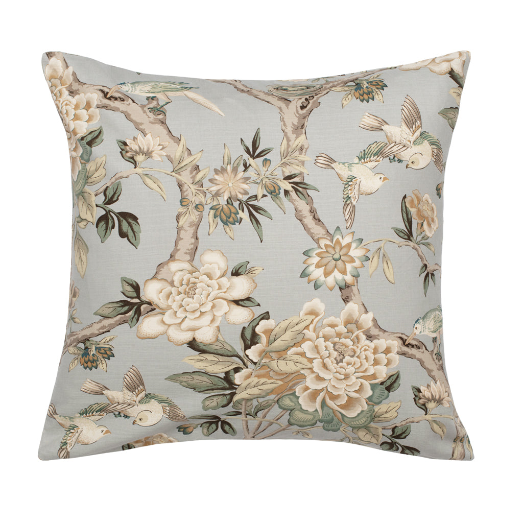 Bedroom inspiration and bedding decor | The Blue Garden Birds Square Throw Pillow Duvet Cover | Crane and Canopy