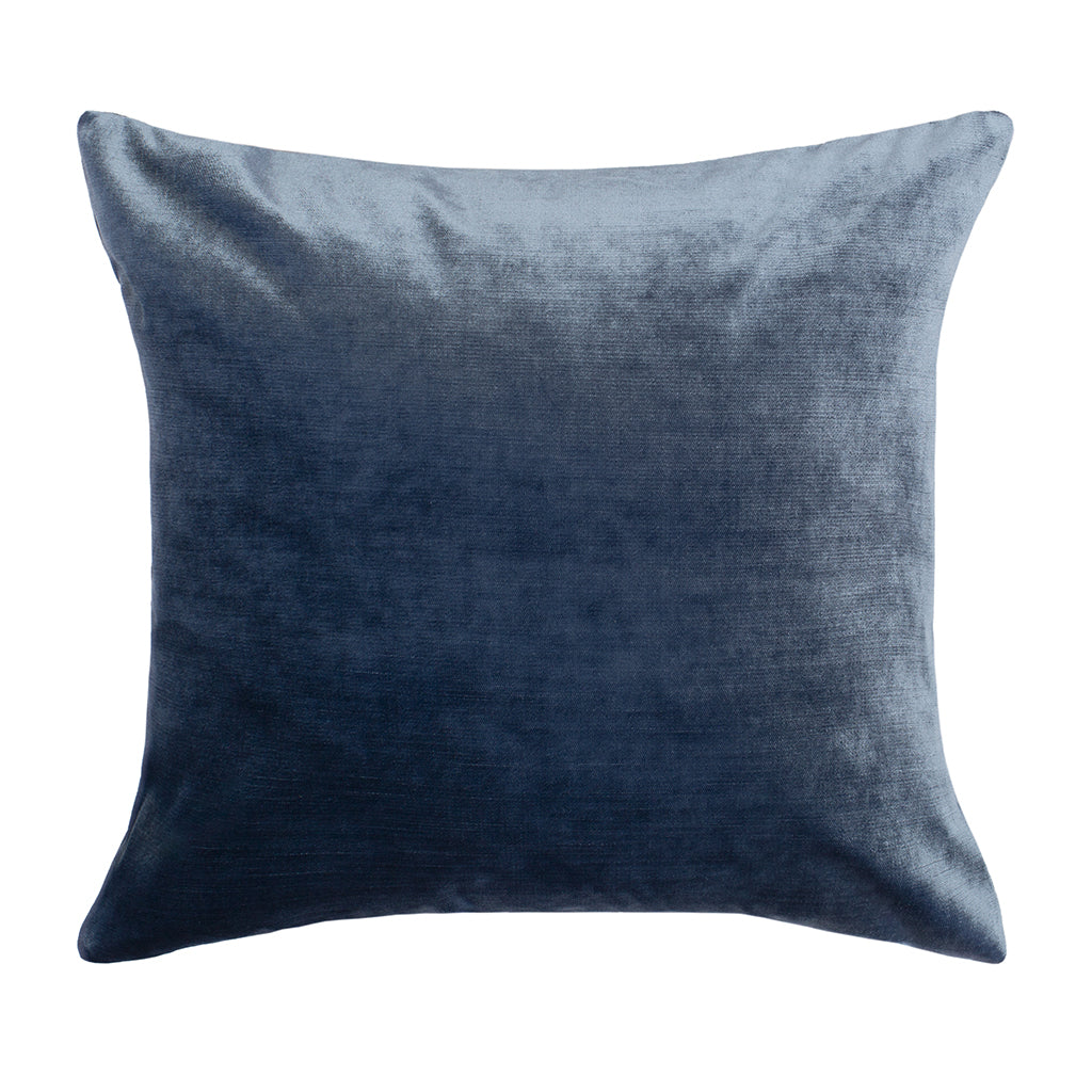 Bedroom inspiration and bedding decor | The Dusk Blue Velvet Square Throw Pillow Duvet Cover | Crane and Canopy