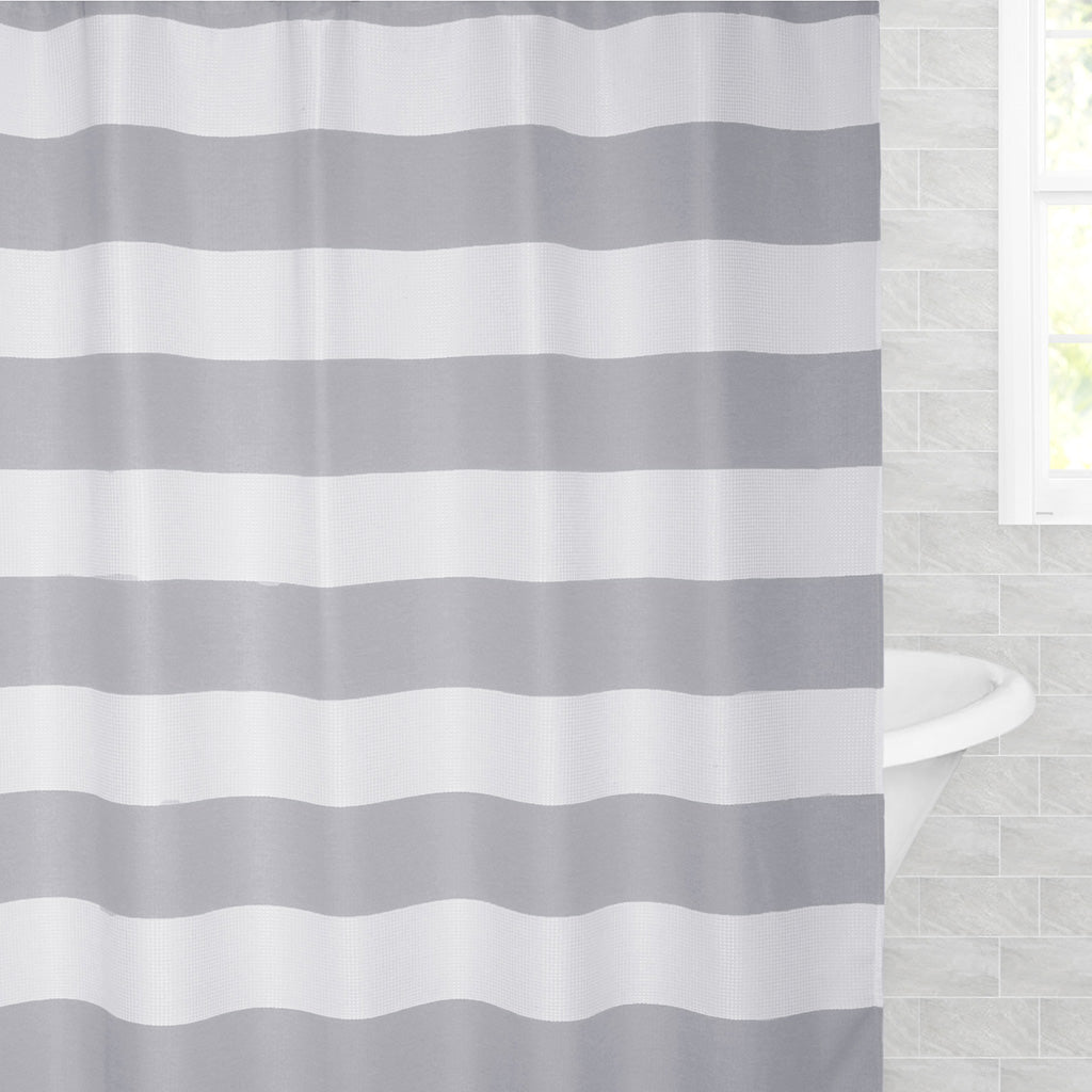 Bedroom inspiration and bedding decor | The Grey Sail Striped Shower Curtain Duvet Cover | Crane and Canopy
