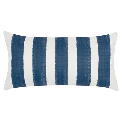 The Navy Beach Watercolor Stripes Throw Pillow