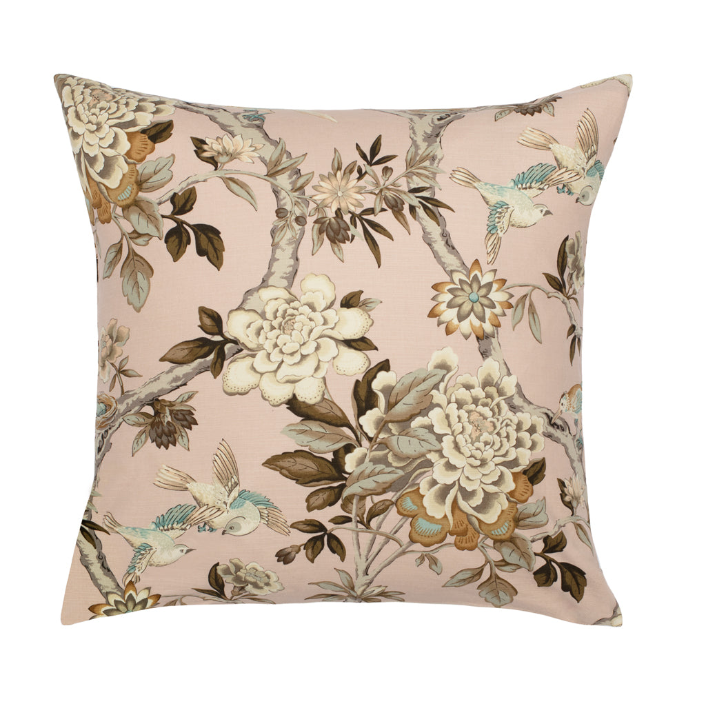 Bedroom inspiration and bedding decor | The Pink Garden Birds Square Throw Pillow Duvet Cover | Crane and Canopy