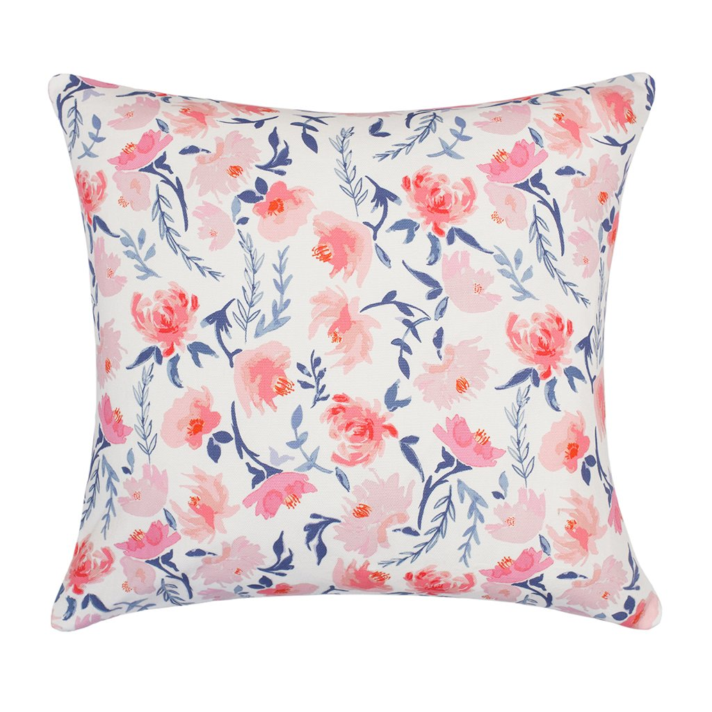 Bedroom inspiration and bedding decor | The Pink and Blue Botanical Square Throw Pillow Duvet Cover | Crane and Canopy