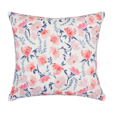 The Pink and Blue Botanical Square Throw Pillow