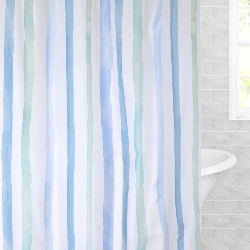 Bedroom inspiration and bedding decor | The Watercolor Stripes Shower Curtain Duvet Cover | Crane and Canopy