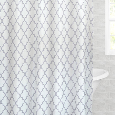 The Grey Fretwork Shower Curtain