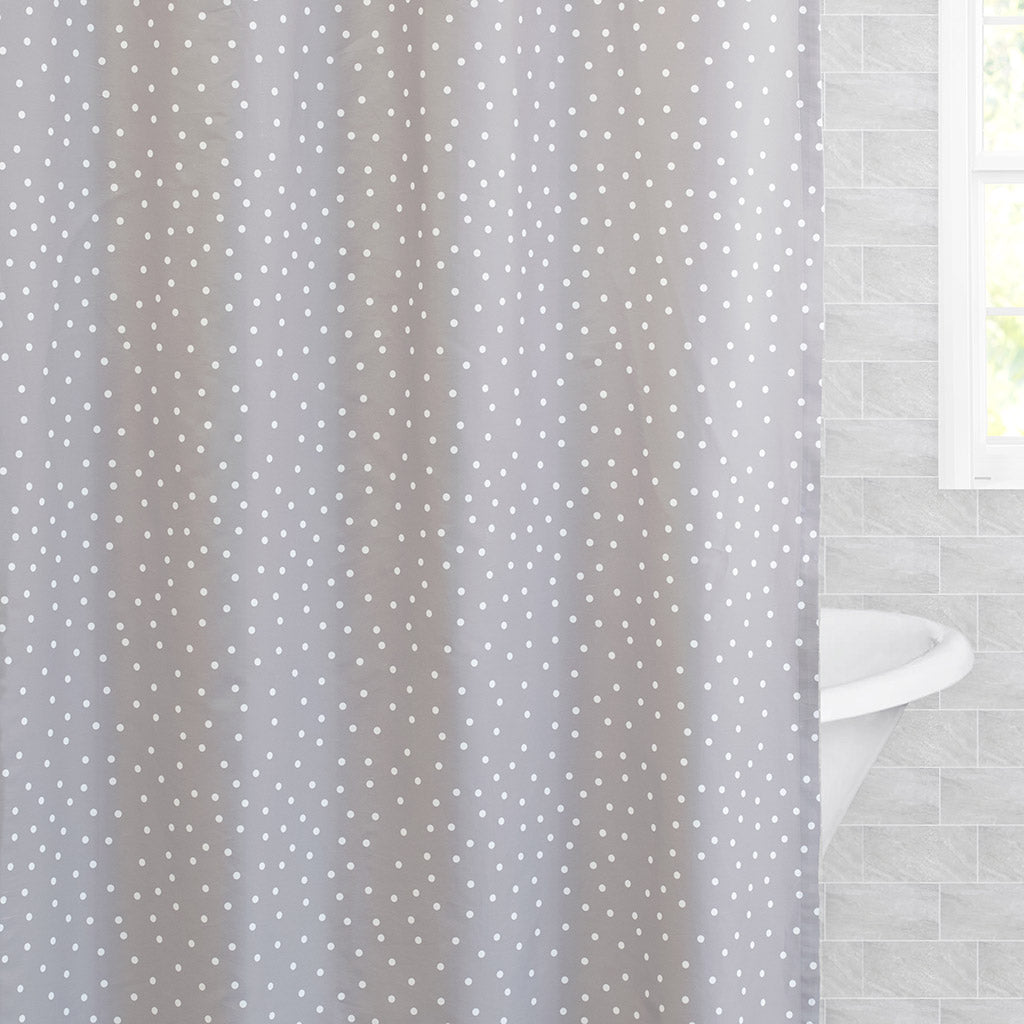 Bedroom inspiration and bedding decor | The Grey Polka Dot Shower Curtain Duvet Cover | Crane and Canopy