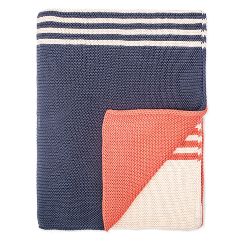 The Coral and Navy Striped Throw