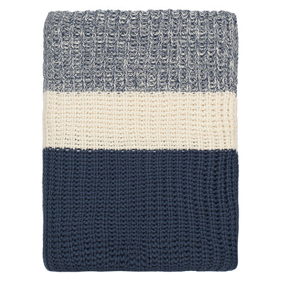 Navy Banded Edge Throw