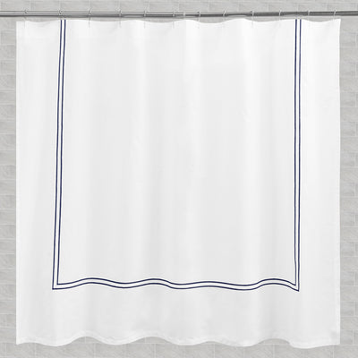 Bedroom inspiration and bedding decor | The Lines Embroidered Shower Curtain Duvet Cover | Crane and Canopy