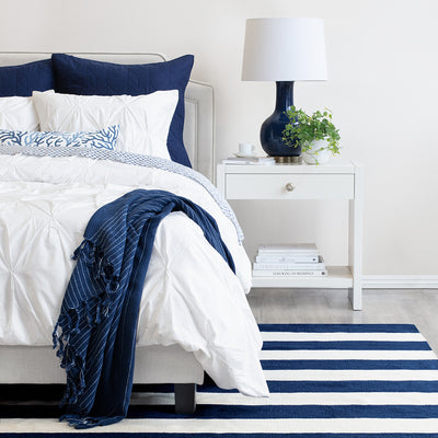 Bedroom inspiration and bedding decor | The Valencia White Pintuck Duvet Cover | Crane and Canopy