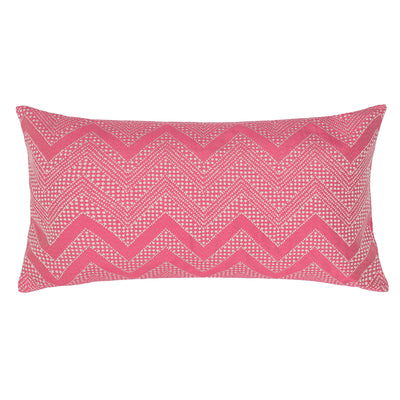 Pink Embroidered Chevron Throw Pillow