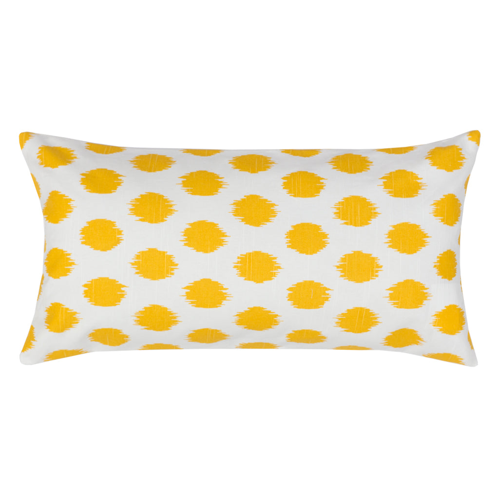 Bedroom inspiration and bedding decor | The Yellow Ikat Dot Throw Pillows | Crane and Canopy