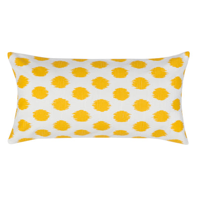 Yellow Ikat Dot Throw Pillow