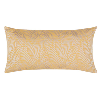 Yellow Leaf Embroidered Throw Pillow