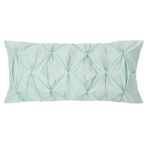 Bedroom inspiration and bedding decor | The Porcelain Green Pintuck Throw Pillow | Crane and Canopy