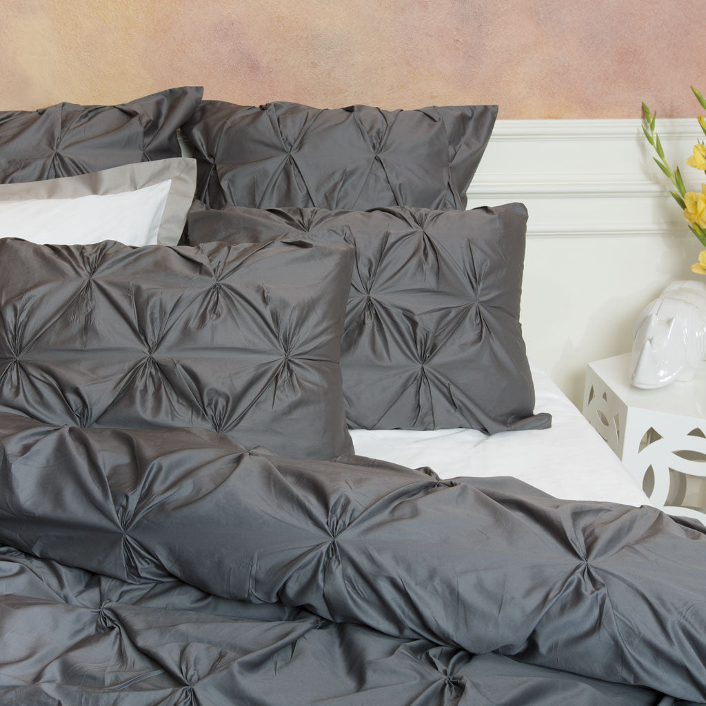 Bedroom inspiration and bedding decor | The Valencia Charcoal Gray Duvet Cover N/A Duvet Cover | Crane and Canopy