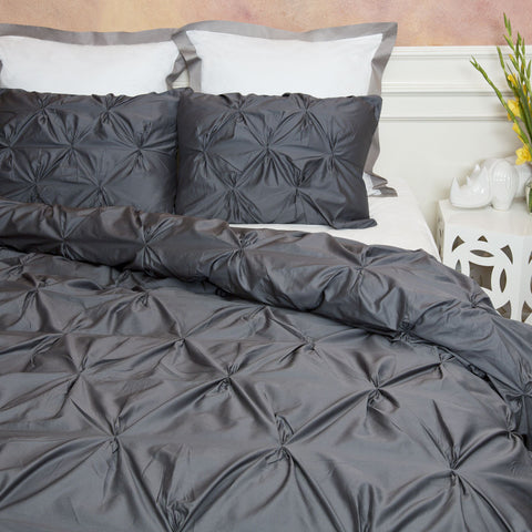Bedroom inspiration and bedding decor | The Valencia Charcoal Gray Pintuck Duvet Cover Duvet Cover | Crane and Canopy